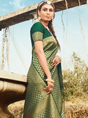 Green Weaving Banarasi Silk Bollywood Saree