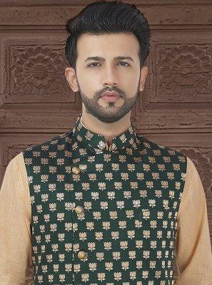 Green Weaving Brocade Nehru Jackets