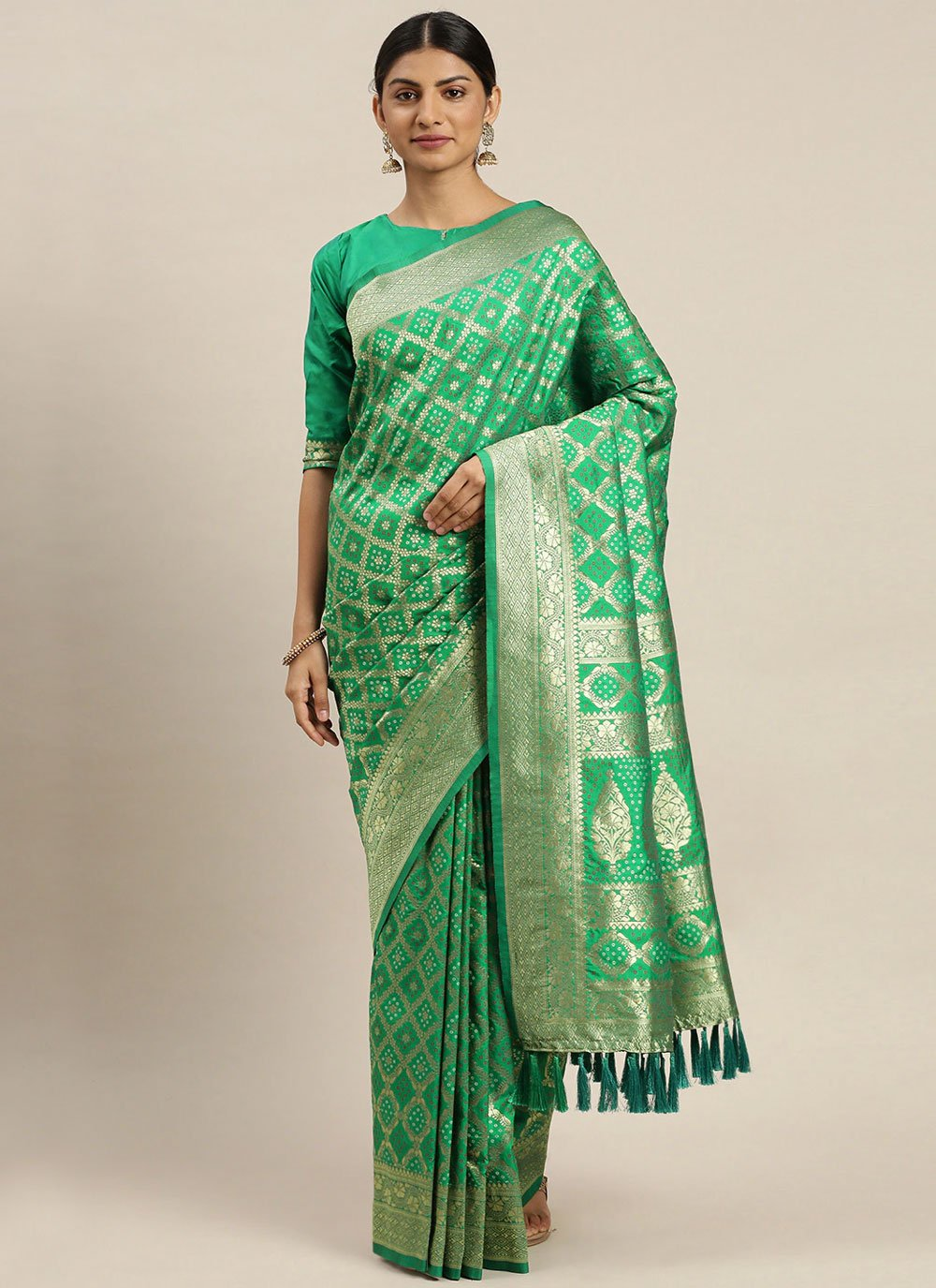 Green Weaving Ceremonial Traditional Designer Saree