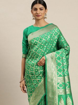 Green Weaving Ceremonial Traditional Designer Saree