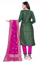 Green Weaving Churidar Suit