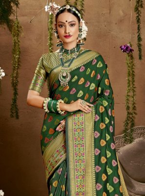 Green Weaving Jacquard Silk Designer Saree