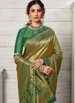 Green Weaving Kanjivaram Silk Traditional Designer Saree