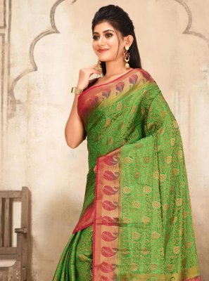 Green Weaving Mehndi Traditional Designer Saree