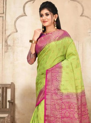 Green Weaving Silk Designer Traditional Saree