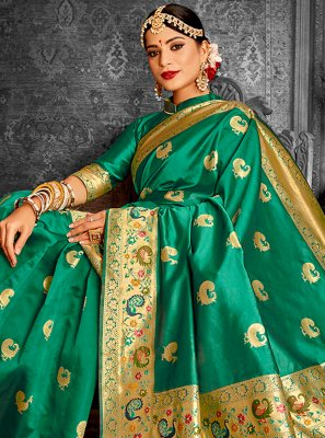 Green Wedding Traditional Designer Saree