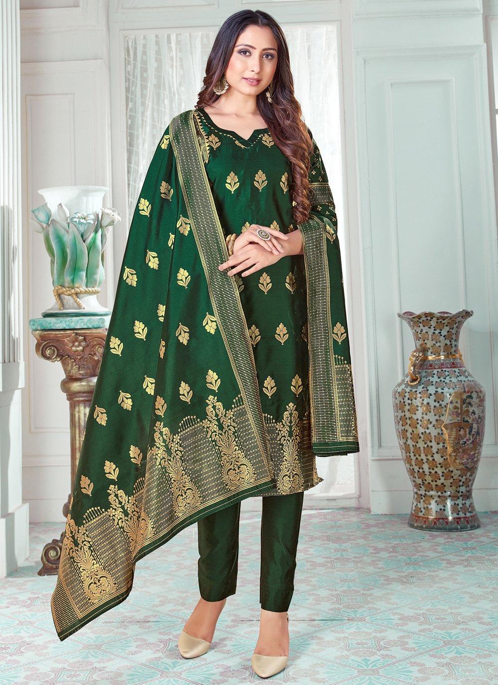 Green Woven Art Banarasi Silk Pant Style Suit
