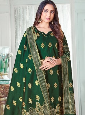 Green Woven Art Banarasi Silk Pant Style Suit