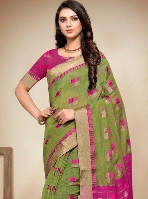 Green Woven Classic Saree