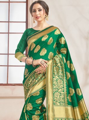 Green Woven Designer Traditional Saree