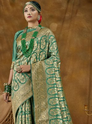 Green Woven Designer Traditional Saree