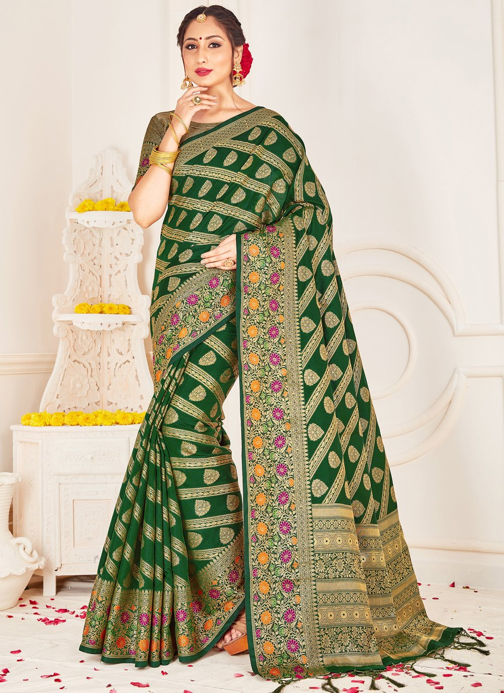 Green Woven Festival Designer Traditional Saree