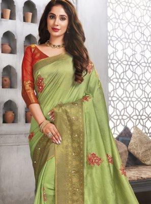 Green Woven Festival Traditional Designer Saree