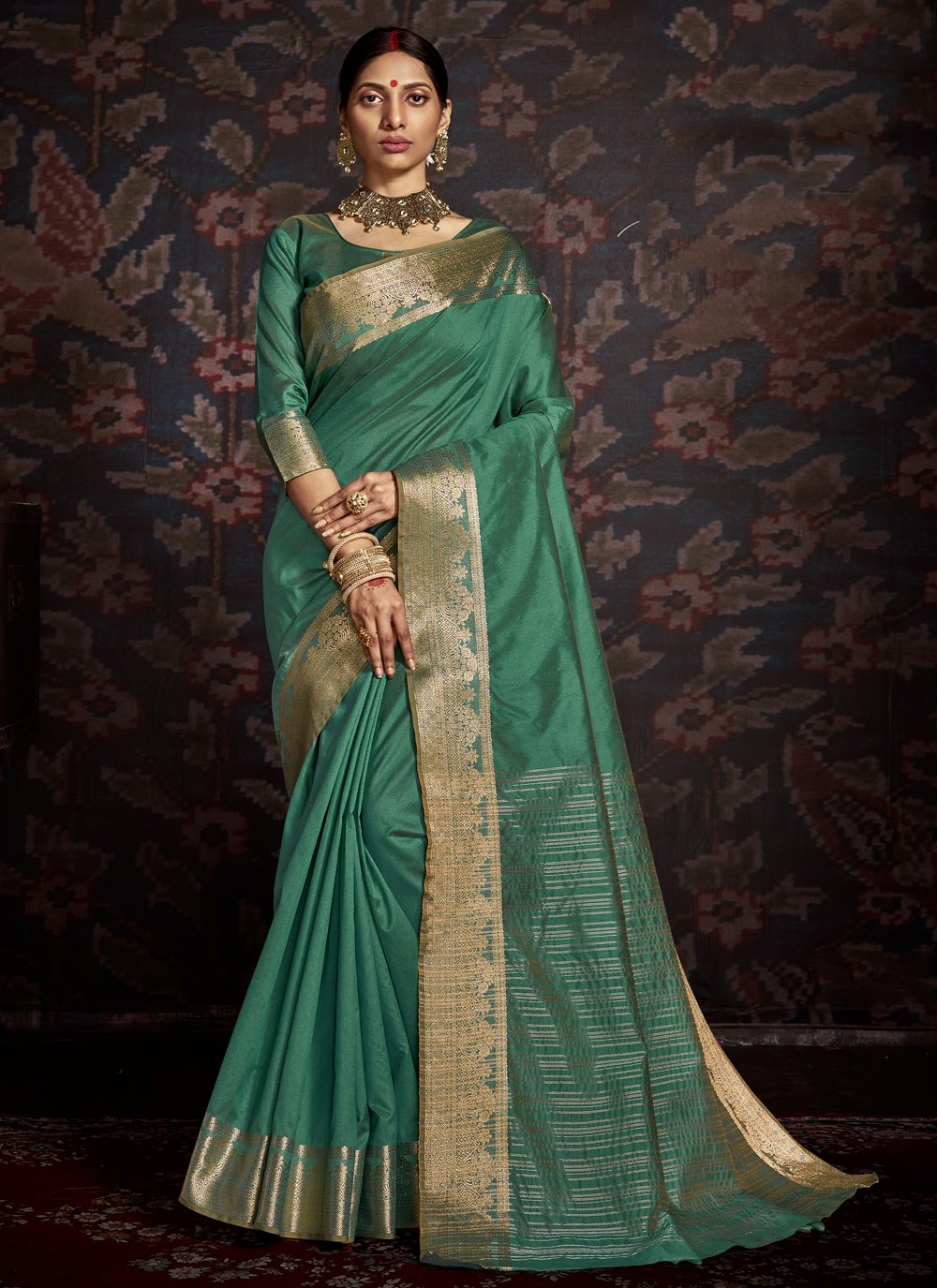 Green Woven Traditional Designer Saree