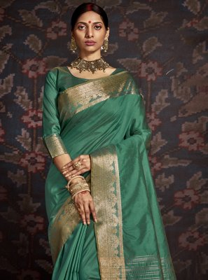 Green Woven Traditional Designer Saree