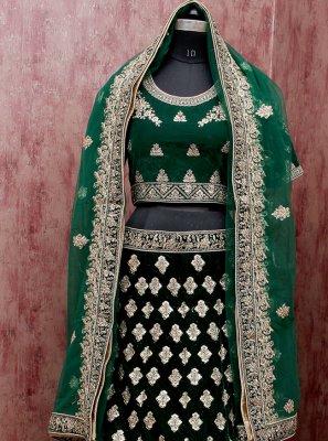 Green Zari Mehndi Lehenga Choli