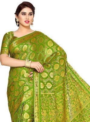Green Zari Silk Traditional Saree