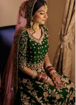 Green Zari Velvet Floor Length Anarkali Suit