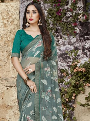 Grey Abstract Print Printed Saree