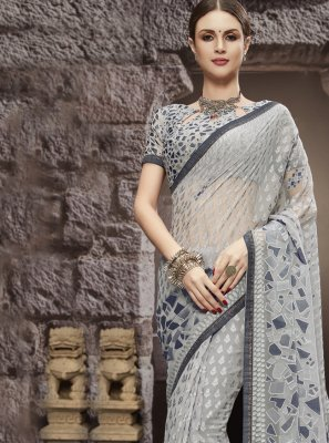 Grey Abstract Print  Tissue Brasso Printed Saree