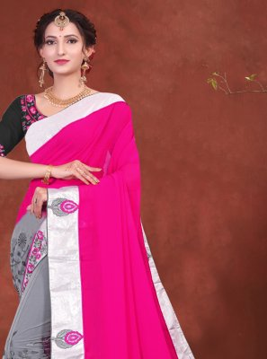 Grey and Hot Pink Net Designer Half N Half Saree