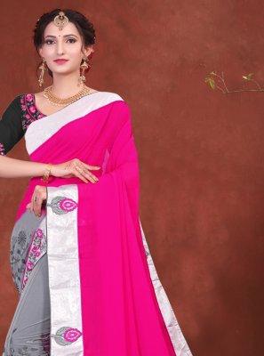 Grey and Hot Pink Net Designer Half N Half Saree
