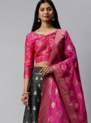 Grey and Hot Pink Weaving Lehenga Choli