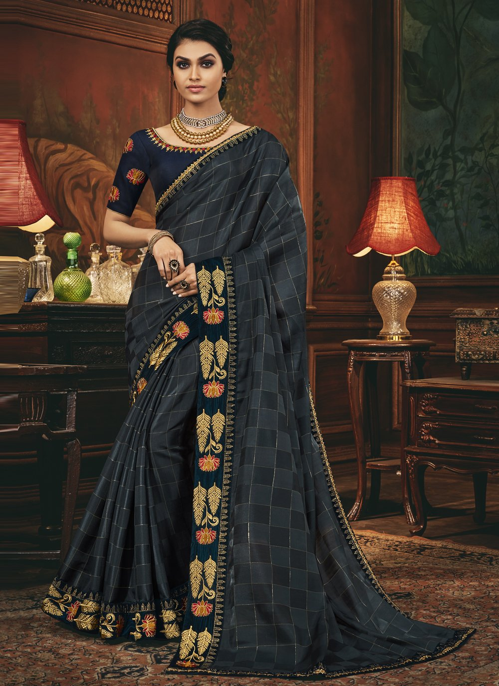 Grey and Navy Blue Embroidered Silk Designer Traditional Saree