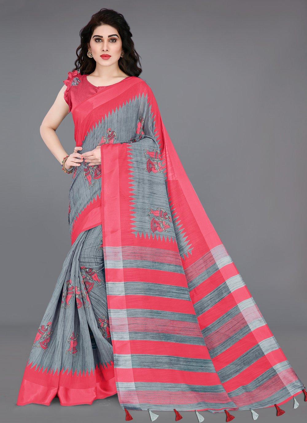 Grey and Pink Cotton Printed Saree