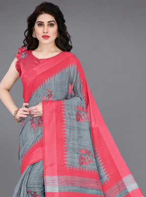 Grey and Pink Cotton Printed Saree