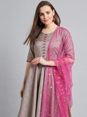 Grey and Pink Silk Readymade Suit
