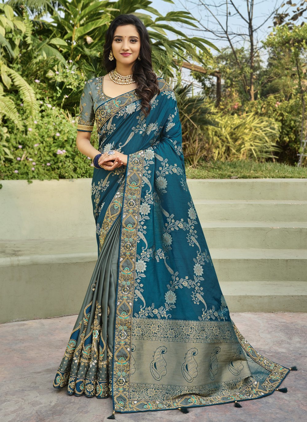 Grey and Rama Embroidered Designer Half N Half Saree