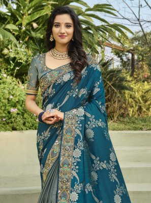 Grey and Rama Embroidered Designer Half N Half Saree