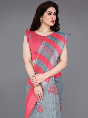 Grey and Red Abstract Print Party Classic Saree