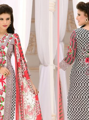 Grey and Red Cotton Casual Churidar Suit