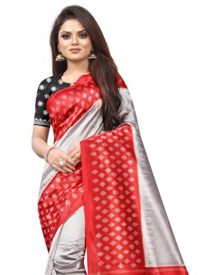 Grey and Red Raw Silk Traditional Saree