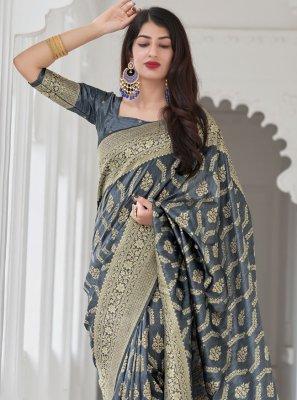 Grey Art Banarasi Silk Traditional Designer Saree