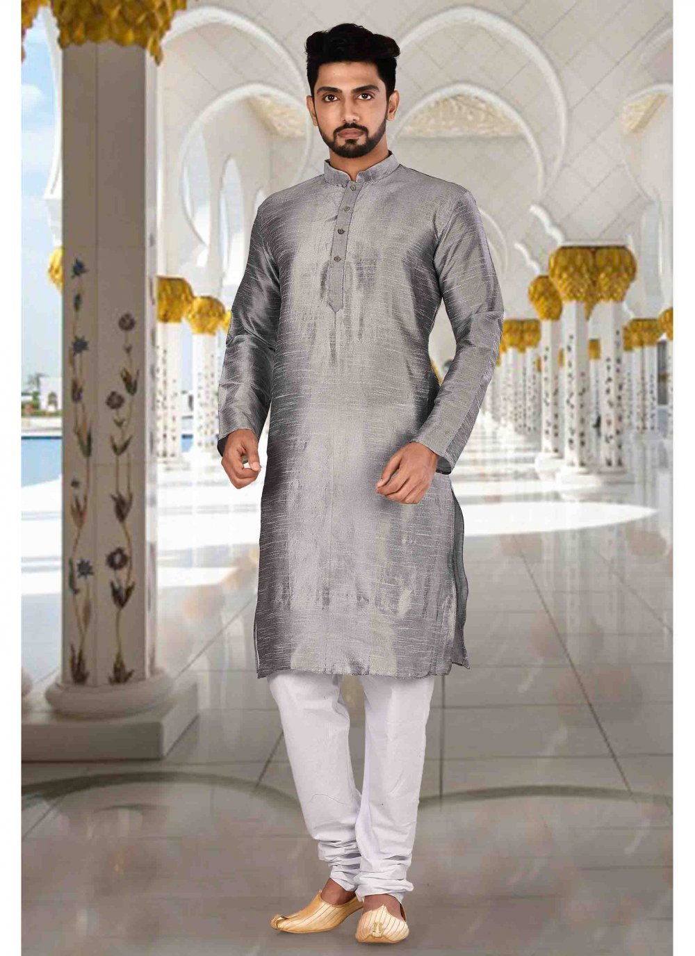 Grey Art Dupion Silk Party Kurta Pyjama