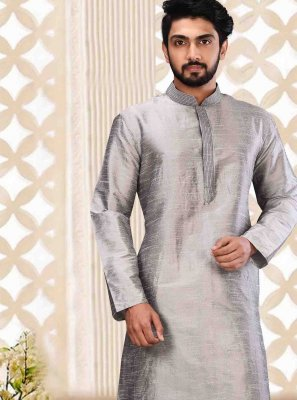 Grey Art Dupion Silk Plain Kurta Pyjama