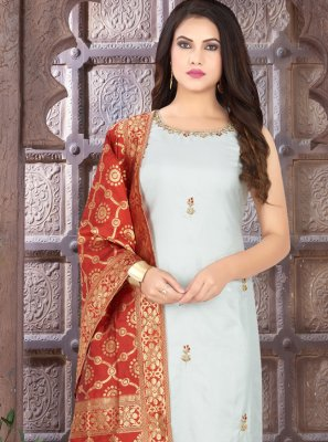 Grey Art Silk Festival Readymade Suit