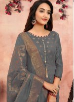 Grey Banarasi Silk Churidar Designer Suit