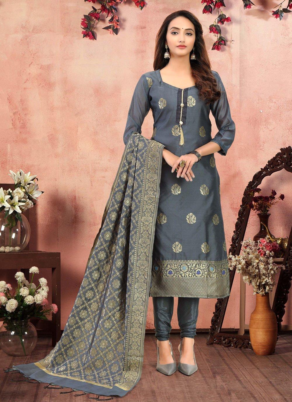 Grey Banarasi Silk Festival Churidar Designer Suit