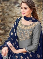 Grey Banarasi Silk Party Designer Salwar Kameez