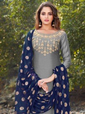 Grey Banarasi Silk Party Designer Salwar Kameez