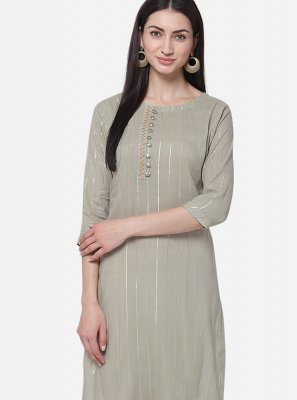 Grey Casual Viscose Casual Kurti