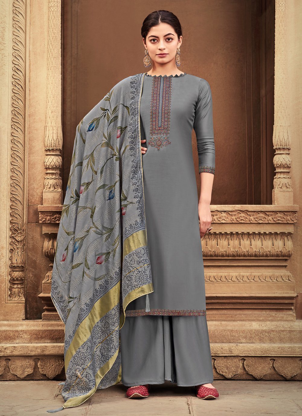Grey Ceremonial Designer Palazzo Suit