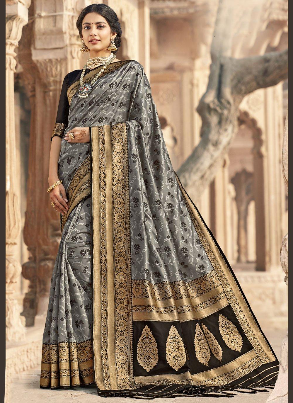 Grey Ceremonial Designer Saree