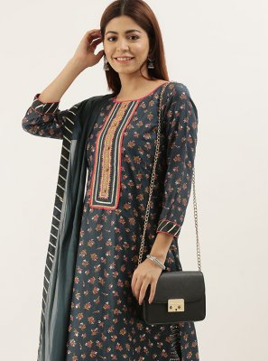 Grey Ceremonial Faux Chiffon Designer Pakistani Salwar Suit