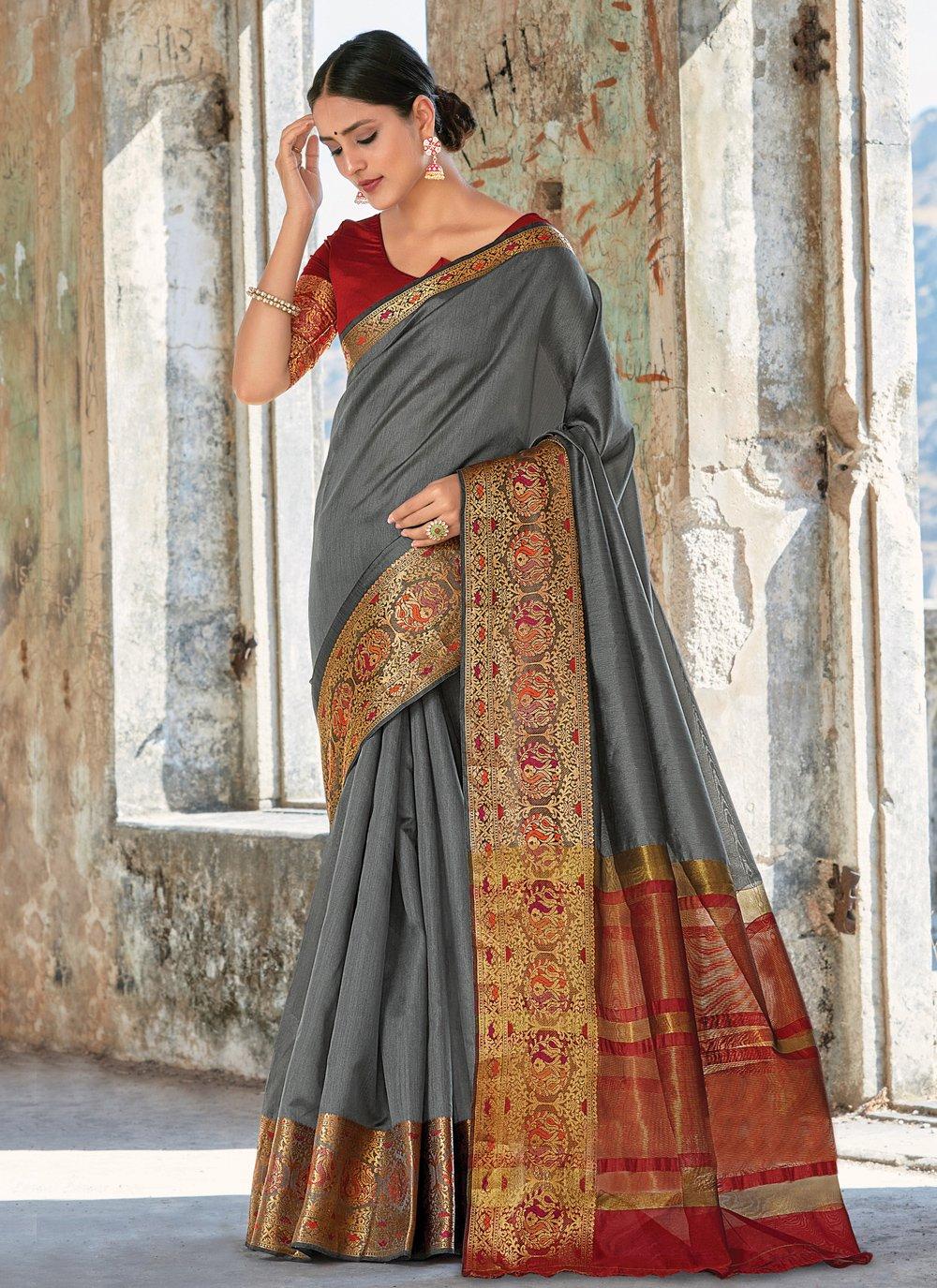 Grey Ceremonial Trendy Saree