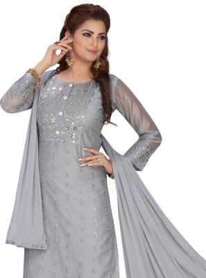 Grey Chanderi Readymade Suit